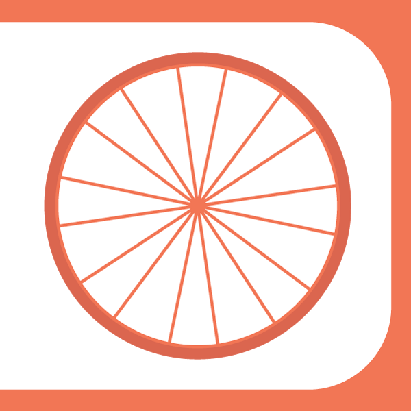 Bike wheel in orange - Financing Workers co-operatives