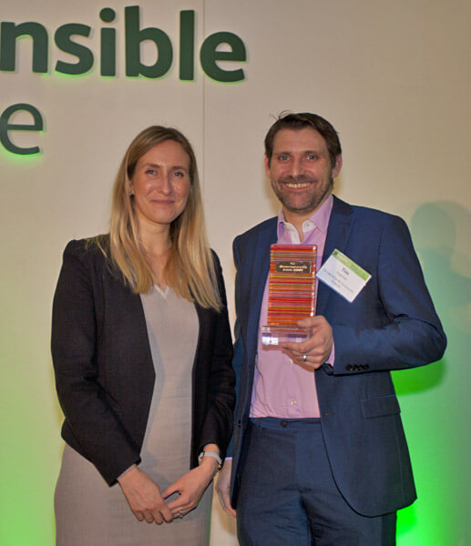 Tim Coomer accepting Responsible Finance award